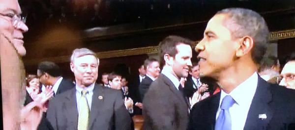 obama greets billy long at sotu