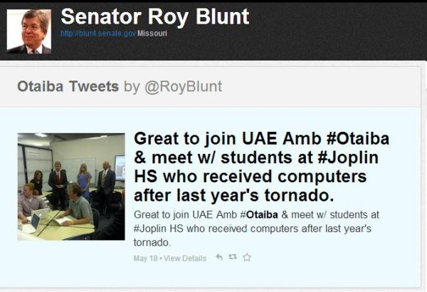 roy blunt and uae gift