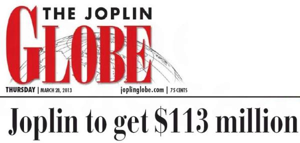 joplin globe headline on federal money