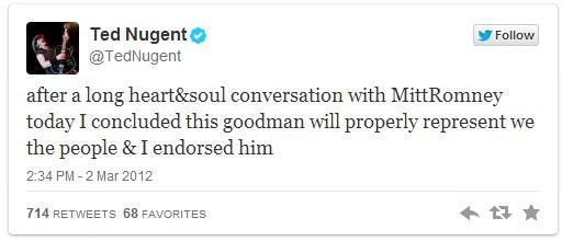 nugent romney endorsement
