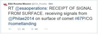 rosetta mission landing tweet